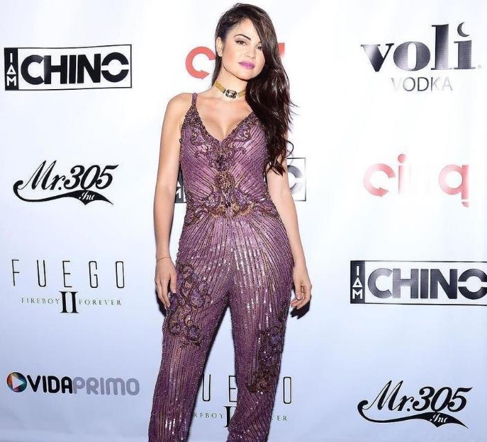 Popstar Natti Natasha in Veronika Leith Chokerat Latin Billboard Awards after party.