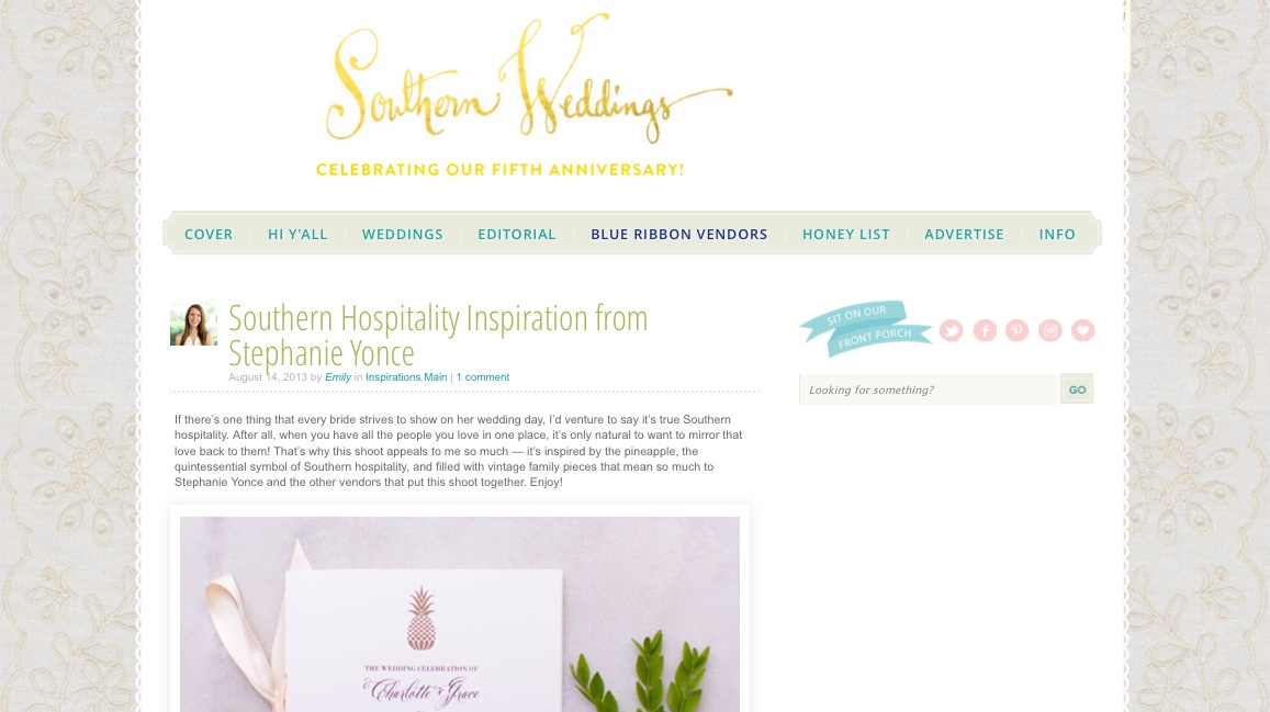 Southern Weddings Southern Hospitality Inspiration