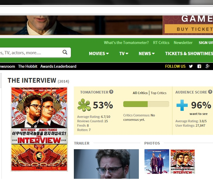 The Interview on Rotten Tomatoes evening of Dec 17th.