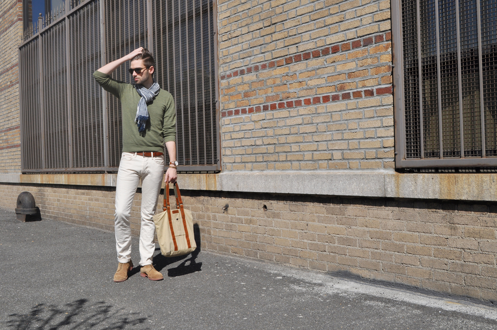 I know I'm an adventurer at heart, but I keep finding myself outfitted for an Urban Safari in my muted greens and khakis. I  do tend to favor more natural and stone washed colors but you can't go wrong when every day is an adventure! You just better have the right accessories to ensure you're well equipped.  Scarves are an integral part of my wardrobe. I have an obscene number in my closet but they are my trusty tools when jazzing up muted colors. Adding a textured scarf to a monochromatic or muted outfit adds dimension and interest. It frames your face and draws attention up. Scarves are not just for winter, a cotton or linen scarf is stylish and lightweight. It protects your neck from the sun and is an alternative to your shirt and tie convention.  How about you? What accessories do you use to add excitement to understated outfits? Joe Fresh sweater / J-Crew selvedge denim / Club Monaco scarf / J-Crew shoes / Rag & Bone bag (old, similar here) / Coach watch / Club Monaco bracelet / Giles & Brother cuff / Banana Republic sunglasses