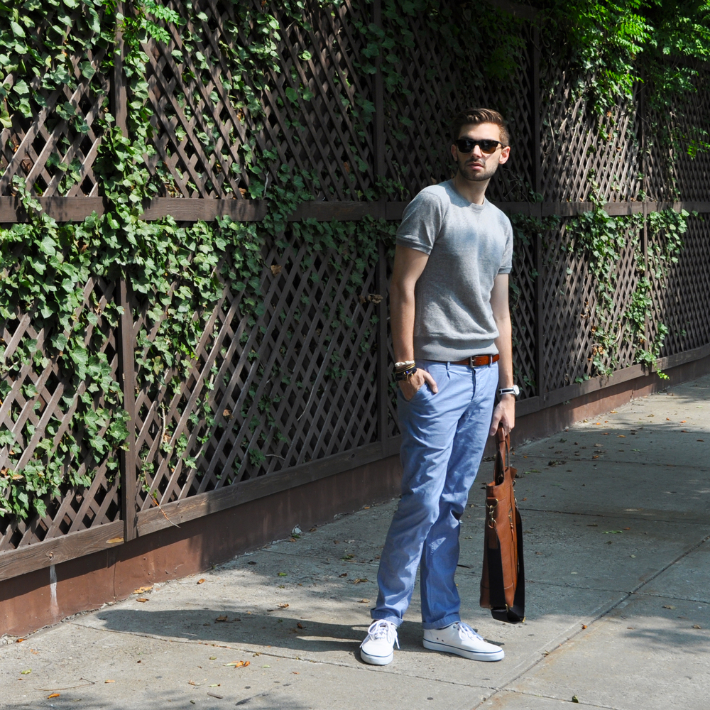 You too can wear sweatshirts in the Summer! Just cut off the sleeves!  Or better idea.... find a great short sleeve sweatshirt like this one! It's a great twist on the classic idea of a sweatshirt and it's lightweight enough to wear on a crisp Summer day like today. I kept it cool with these icy blue chambray chinos. I don't know about you, but I am so ready for colder weather! I love to layer and while shorts and tees are great, nothing beats a thick sweater and a warm scarf. Guess I'll settle for short sleeve sweaters for the time being!   Banana Republic sweatshirt (similar  here  and  here ) /  Ben Sherman chambray chinos  /  Sperry Top-Sider sneakers  / Club Monaco bag (in-store) /  Timex watch  /  Giles & Brother s-hook bracelet  and  railroad cuff  /  Maritime Supply Co. knot bracelet  /  Warby Parker sunglasses