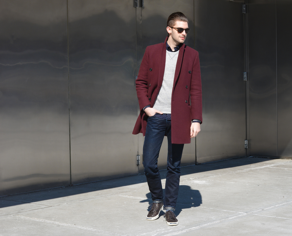The Modern Otter || Joe Fresh shirt, Uniqlo sweatshirt, Club Monaco topcoat