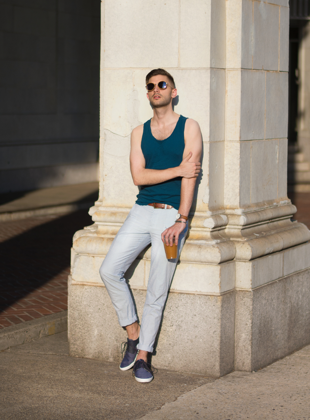 The Modern Otter | Seersucker Pants with a Tank Top