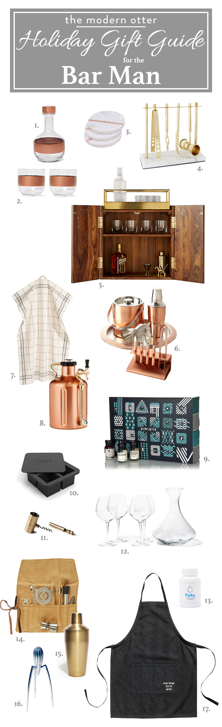 The Modern Otter Holiday Gift Guide for the Bar Man
