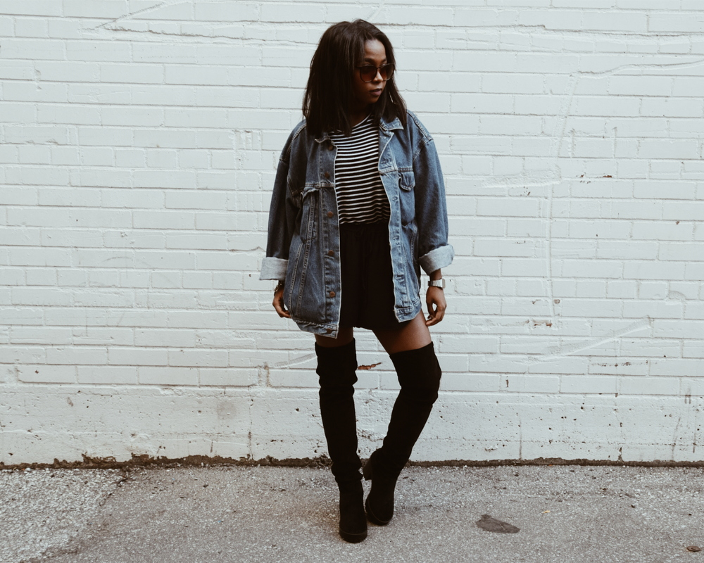 Sunnies / Ardene   Vintage Levi's Jacket / Thrifted   T-shirt / Brandy Melville   Shorts / Aritzia (SOLD OUT)  Thigh High Boots / H&M