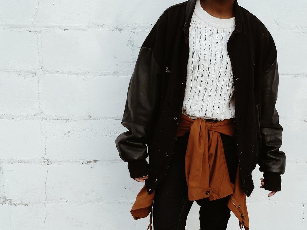 Varsity Jacket/ Stolen From Dad :)   White Sweater/ H&M (Similar)   Lightweight Jacket/ Forever 21 (No longer Available)   Jeggings / Garage Clothing