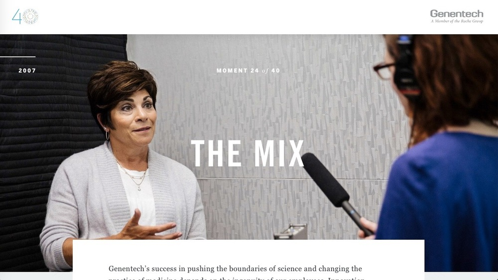 "Audio short for ""The Mix"" for Genentech's 40 Defining Moments. Distributed through gene.com."