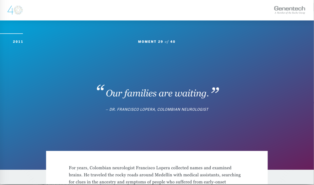 "Standalone podcast for ""Our Families are Waiting"" for Genentech's 40 Defining Moments. Distributed through gene.com."