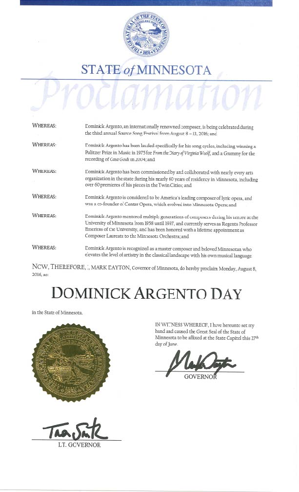 """Governor Mark Dayton has proclaimed August 8, 2016 """"Dominick Argento Day!"""""""