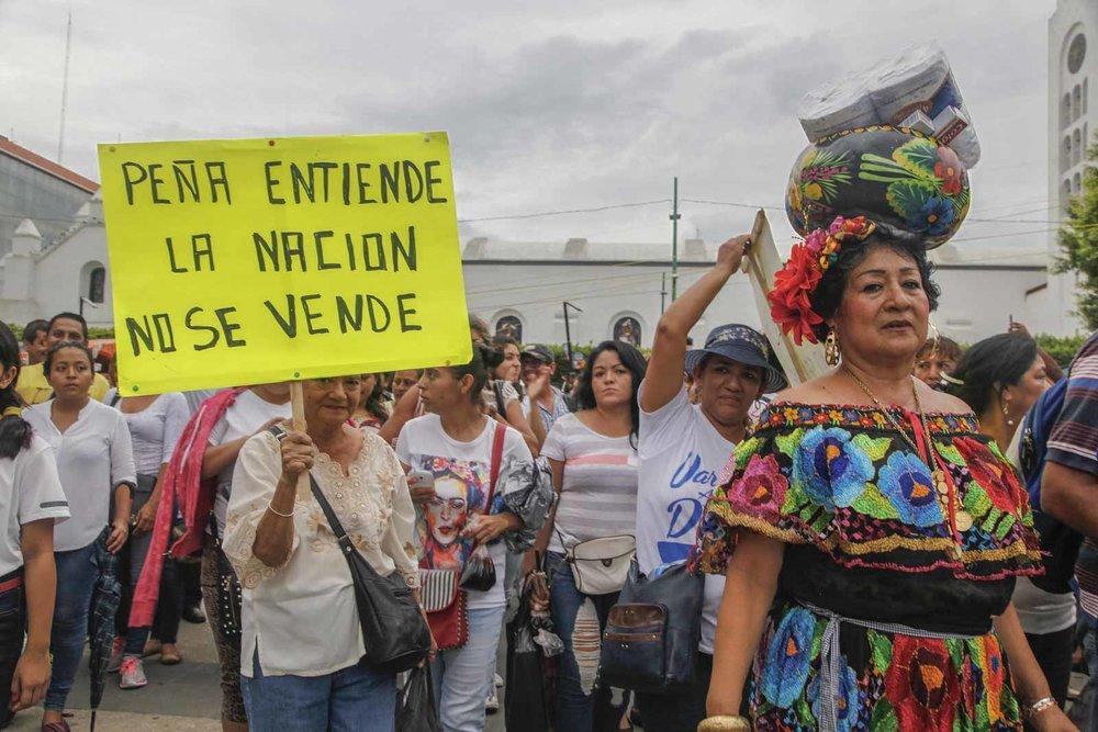 Marcha del pueblo de Chiapa de Corzo en apoyo al movimiento magisterial.