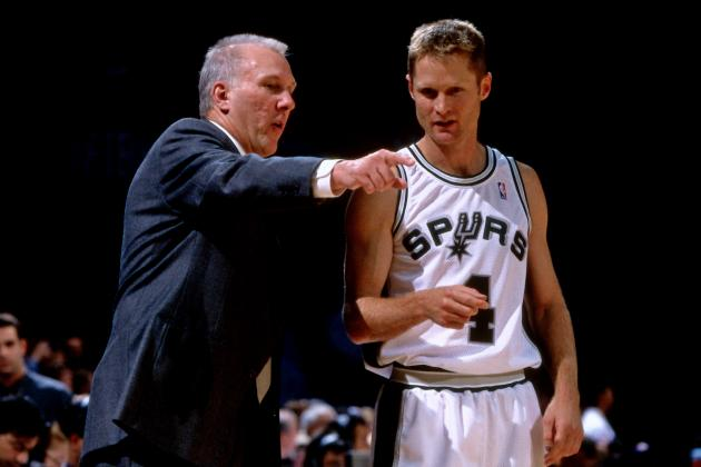 Kerr won two NBA championships (1999, 2003) while playing in San Antonio under Popovich