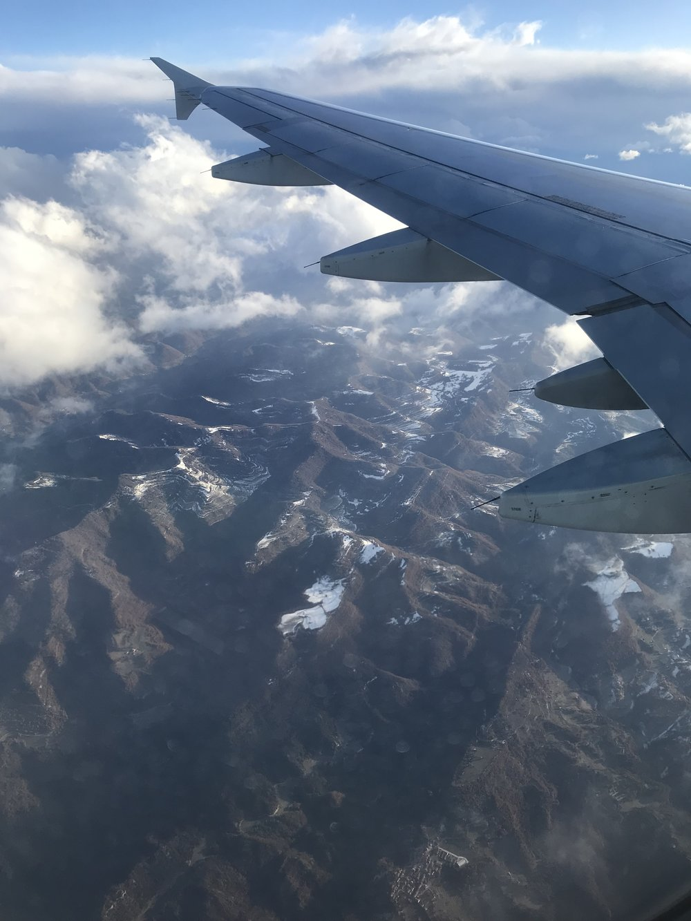 View of Mountains before landing in Barcelona
