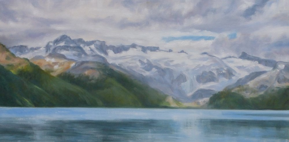 Early summer at Lake Garibaldi. 18 x 36 oil on canvas