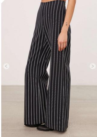 Pinstripe High-Rise Flare Pant