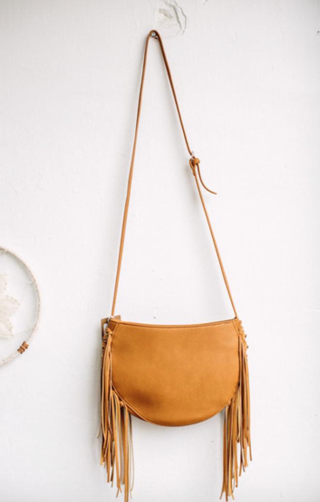 Threads Tan Fringe Bag