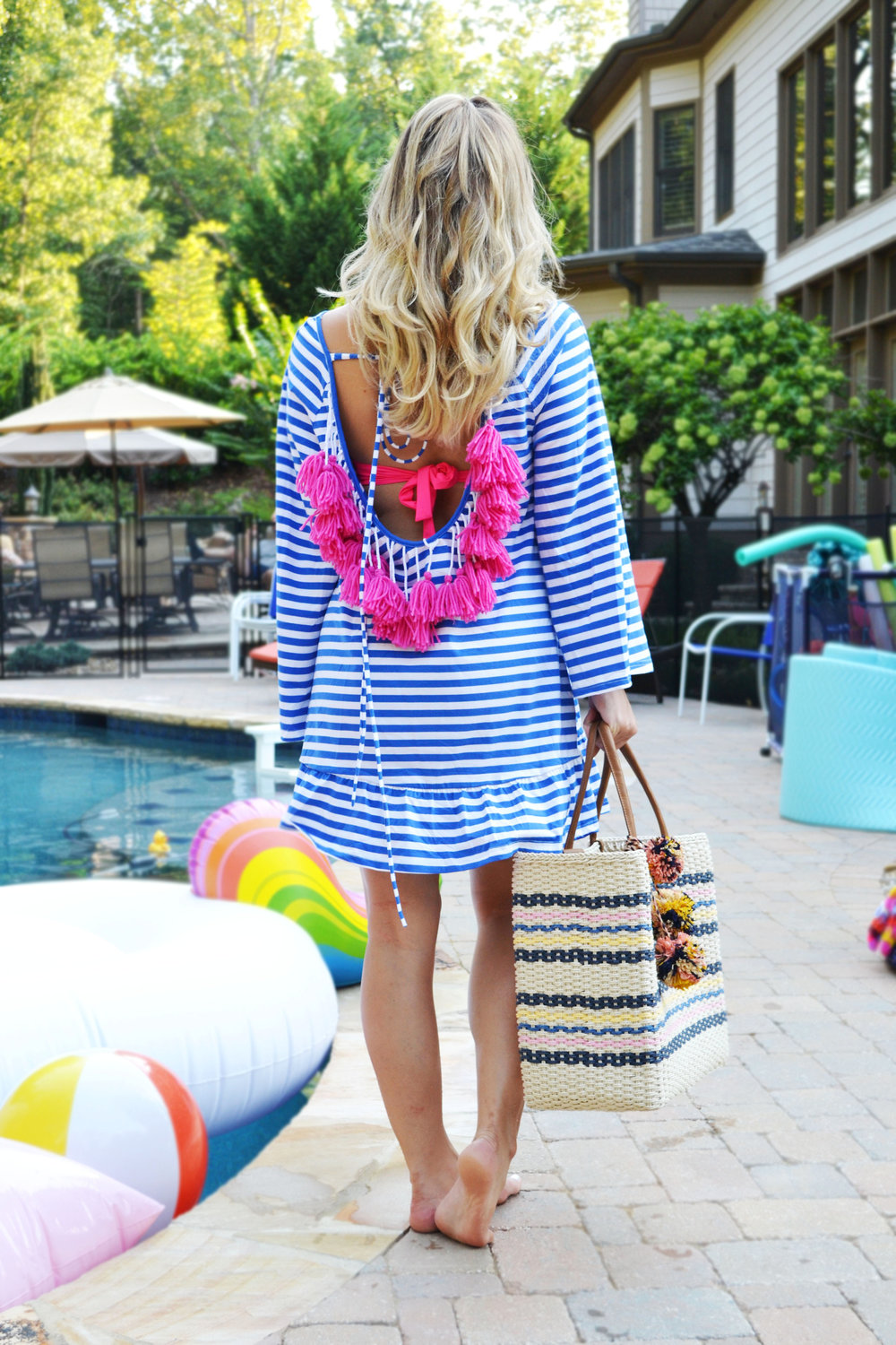Featuring:   She In Tassel Shift Dress   //    Dillards Pom Pom Tote- Shop Similar    //   Unicorn Pool Float