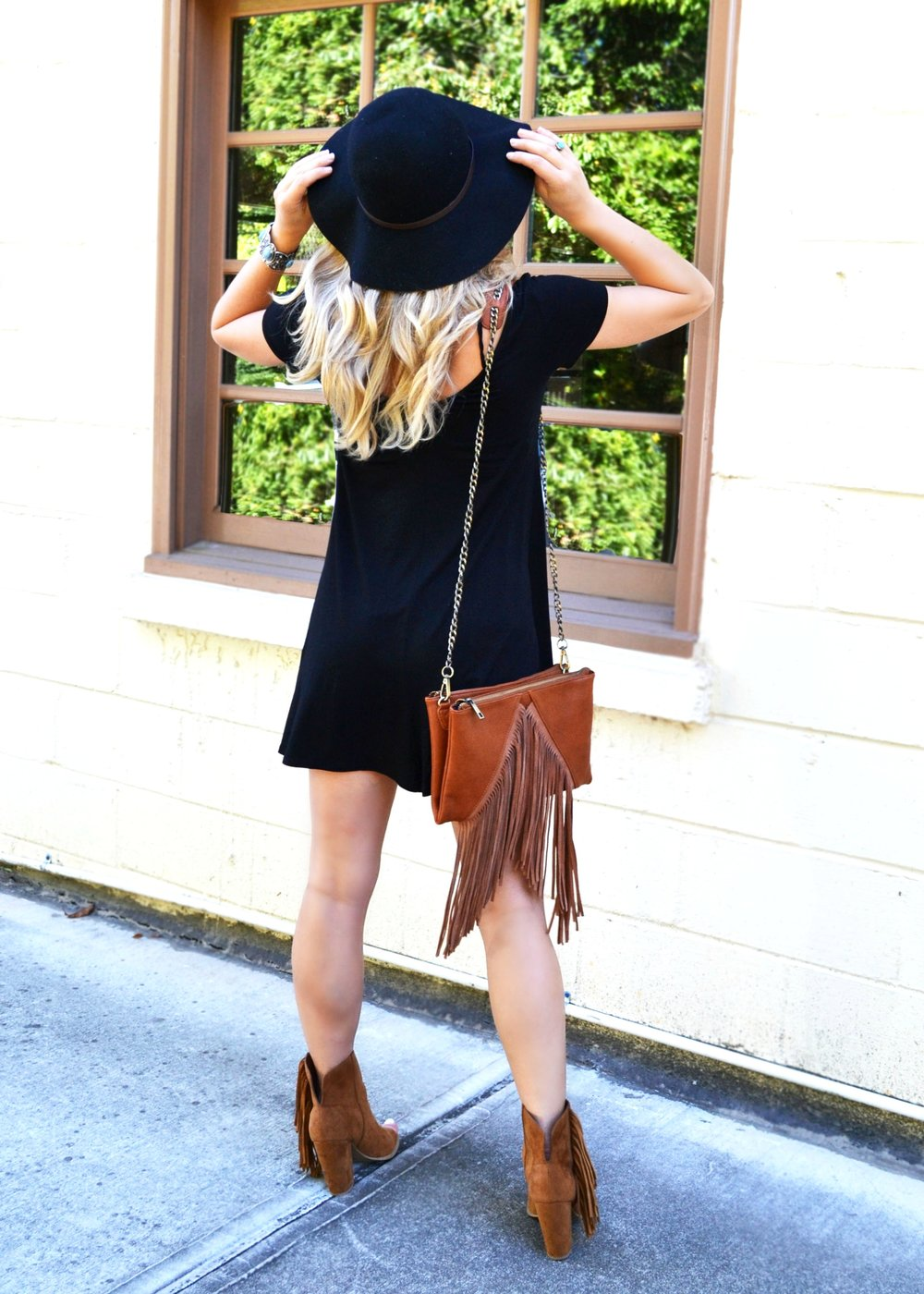 Featuring:  F  or Elyse Swing Dress  //   For Elyse Fringe Bag  //  Nordstrom Rack Fall Hat  //  DV For Target Peep Toe Booties