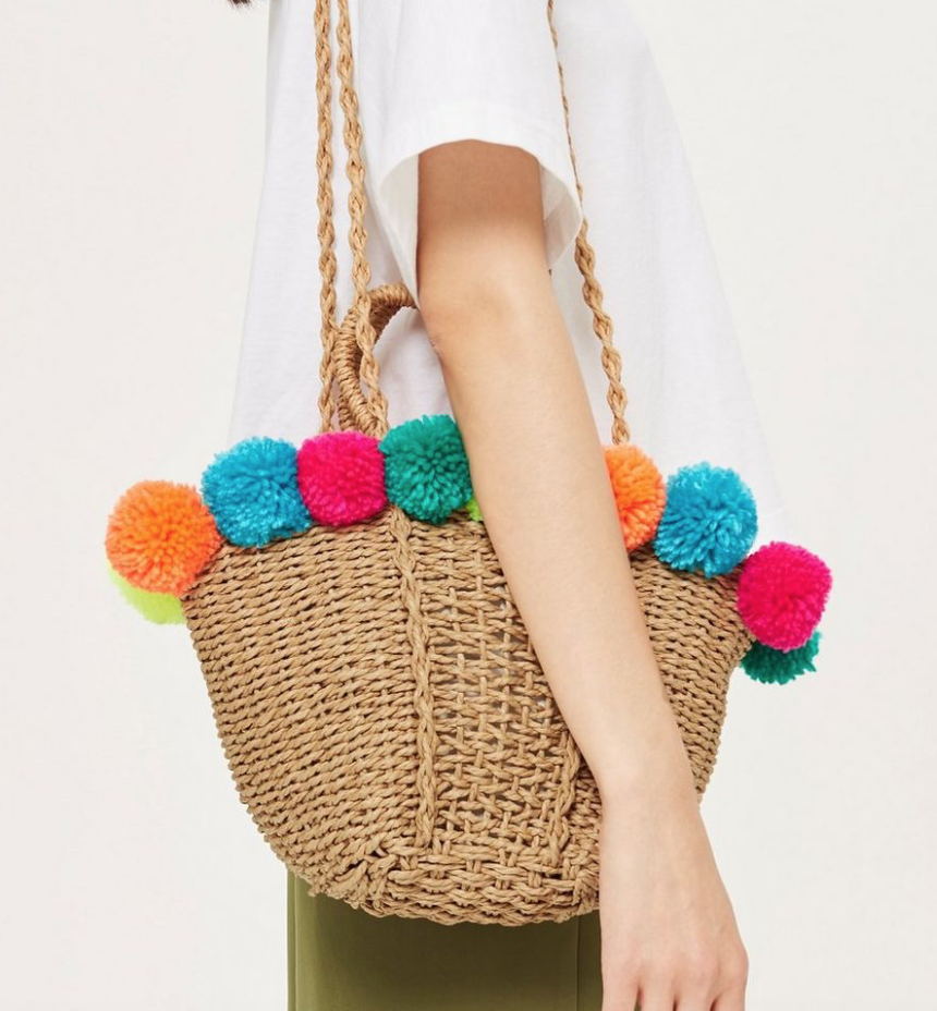 Multi Color Pom Pom Bag