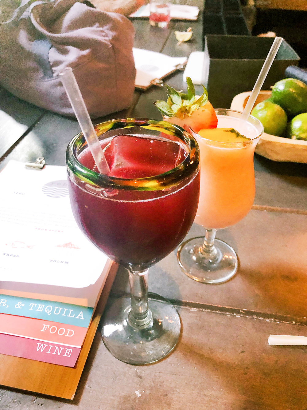 FROSE : provence rose, vodka, strawberry, pineapple, lime (frozen)   ROJO Sangria:  red wine, pisco, blood orange, amargo, cacao