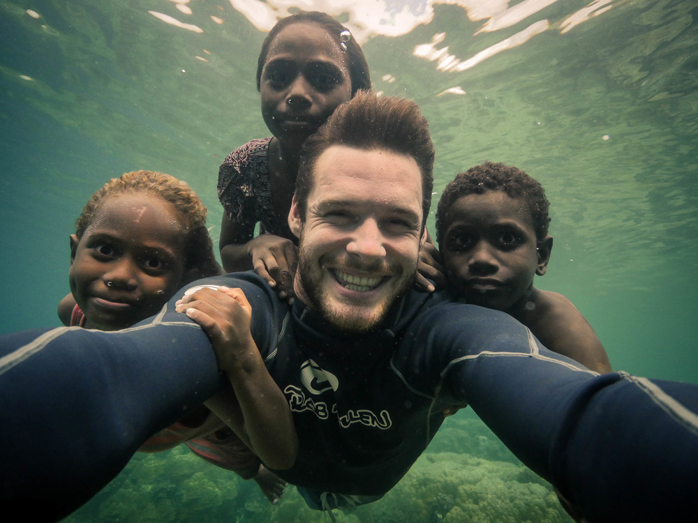 "My first underwater ""selfie"" with the little legends from Gatokae"