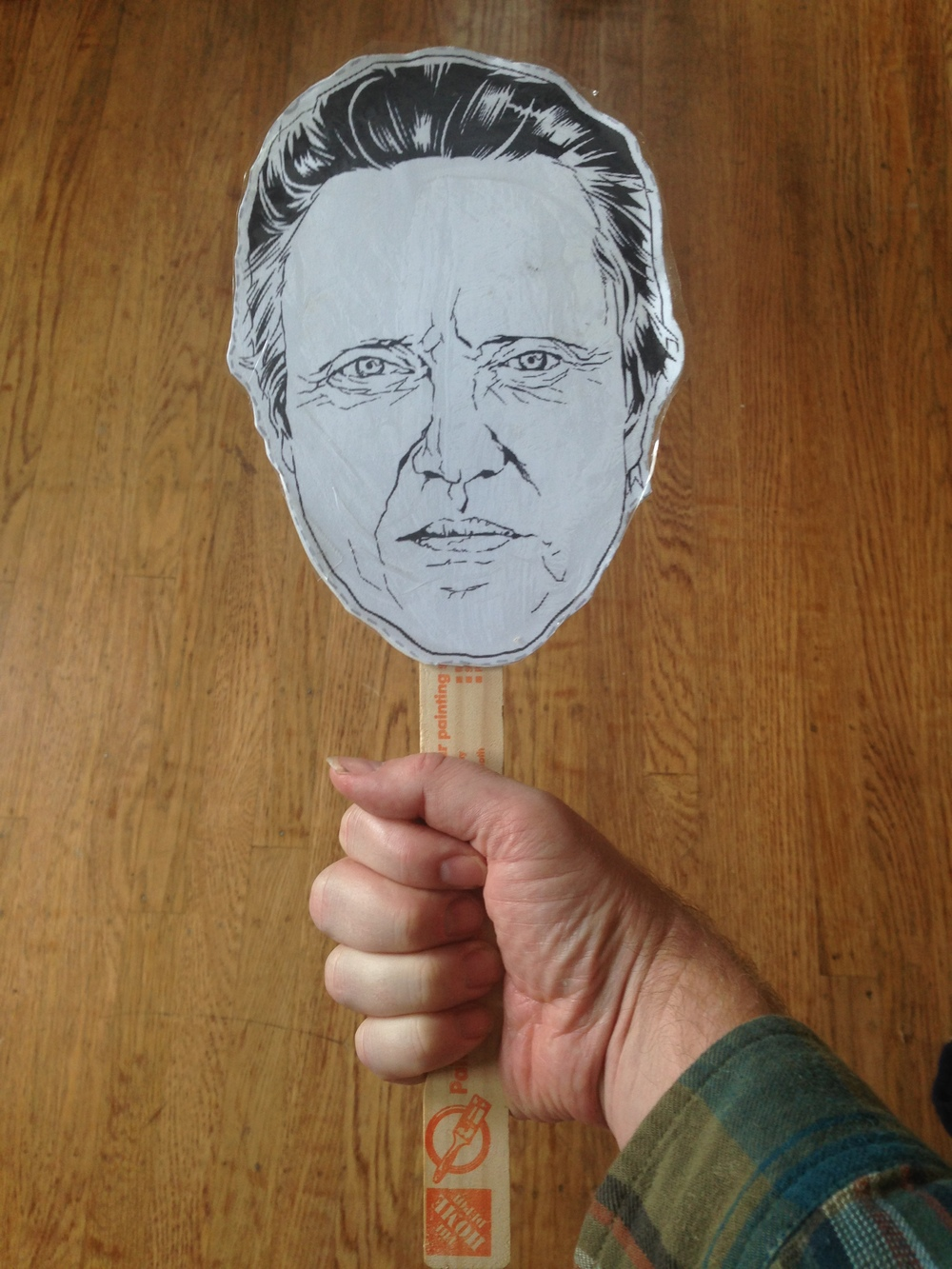 finished christopher walken mask paint stick project DIY
