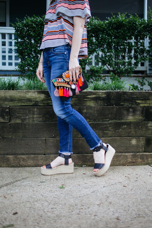 Vince flatform sandals and Tassel Clutch || @polishedclosets