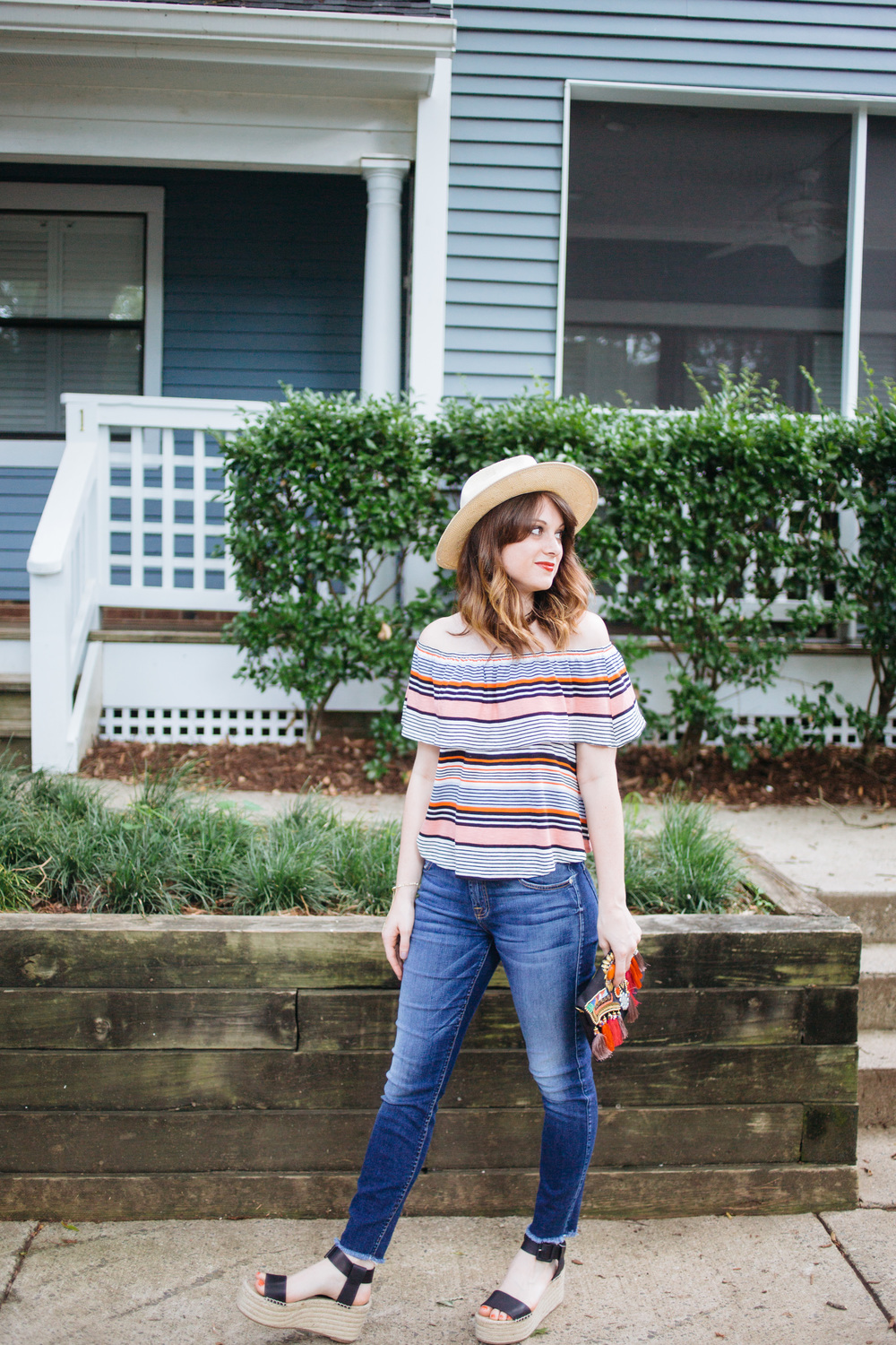Striped off the Shoulder Top and Raw Hem Jeans || @polishedclosets