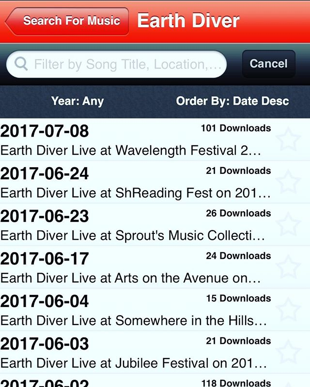 Counts on the rise! Get over to archive.org and listen to live shows starting back in 2012!#og #earthdiver #jamband
