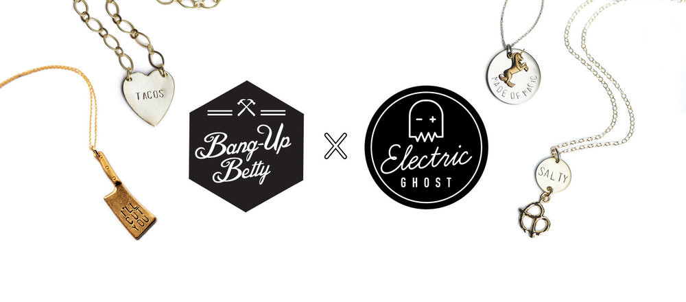 Arkansas handmade jewelry designer Bang-Up Betty pairs with Little Rock screen printers Electric Ghost.