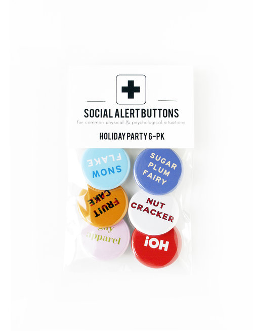 Gay Holiday Button Party Pack  Everyone at the party is gonna fight over that snowflake button.    Get it here.