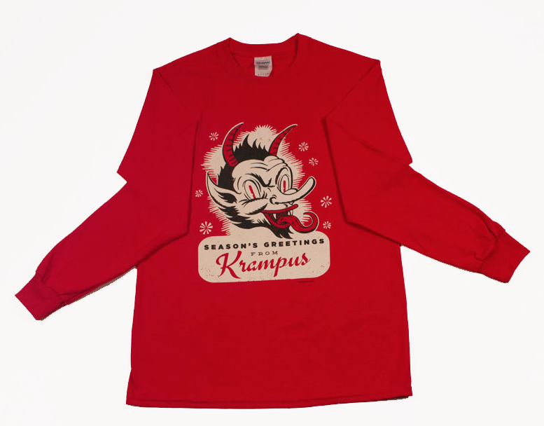 Krampus Long-Sleeved Glow-In-The-Dark Shirt by Big Bot Design  Keep the kids in line with the constant fear of Krampus.   Get it here.