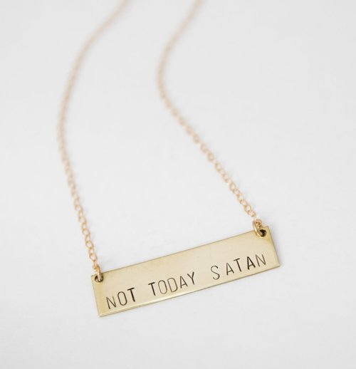 Not today satan stamped necklace bang up betty not today satan stamped necklace aloadofball Choice Image