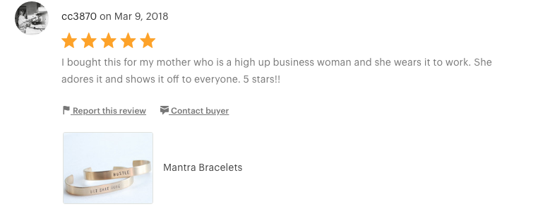 "Handmade Custom Mantra Bracelet  ""I bought this for my mother who is a high up business woman and she wears it to work. She adores it and shows it off to everyone. 5 stars!"""