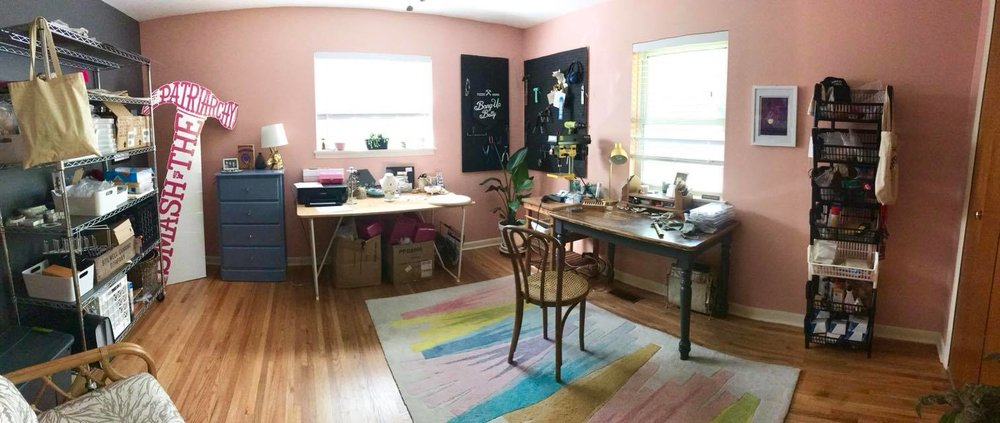 North Little Rock jewelry designer Stacey Bowers' studio, where she creates Bang-Up Betty jewelry.