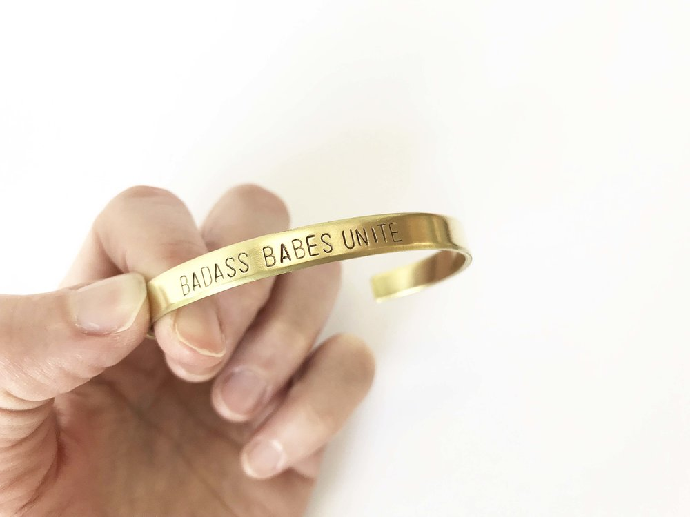 Badass Babes Unite Bracelet is handmade by Bang-Up Betty Jewelry in North Little Rock, Arkansas.
