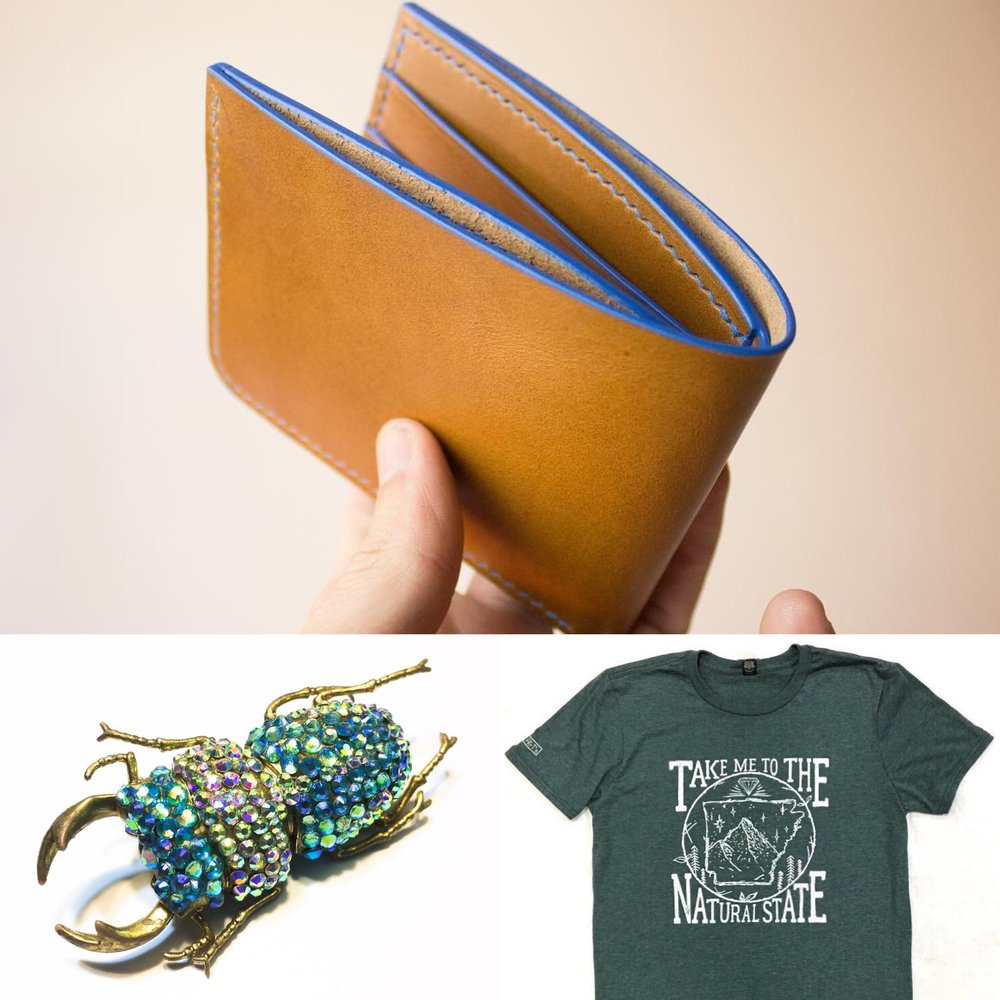 Handmade leather wallet by  Dower , Arkansas t-shirt by  AR-T's , Glamfestation brooch by  Krystal Bijoux Jewelry