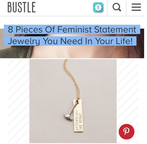 Handmade Smash the Patriarchy Necklace featured on  Bustle