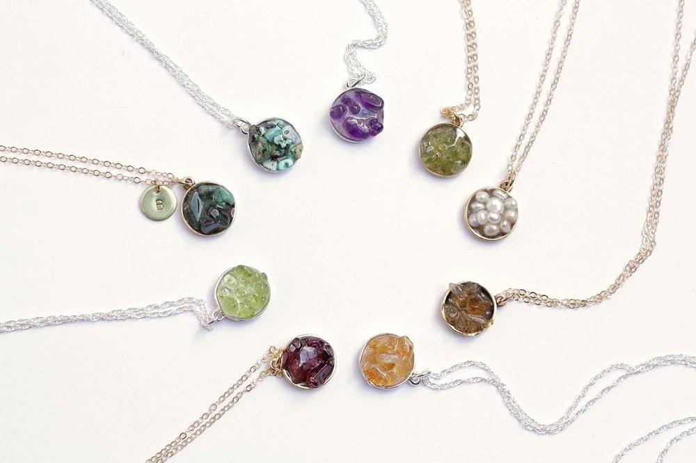 Which beautiful birthstone are you?  Find your match and peruse the whole collection of natural, raw and rough birthstone cluster necklaces here .
