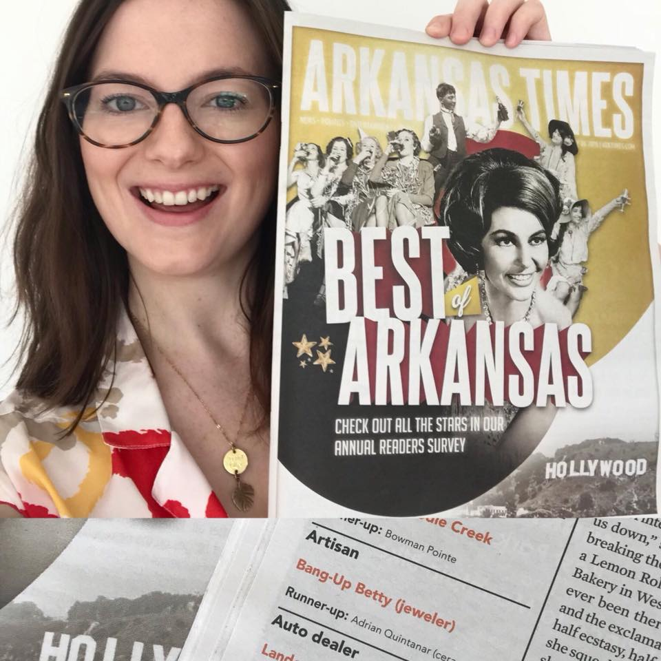 Bang-Up Betty was voted Best Artisan for the fourth year in a row in the Arkansas Times's Best of Arkansas for jewelry design.