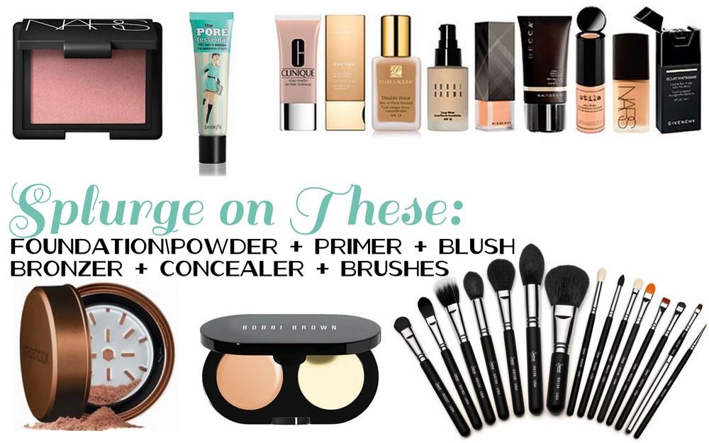 Nars blush in New Order, Benefit pore-fessional, Smashbox Halo bronzer, Bobbi Brown creamy concealer kit, Sigma brush set.