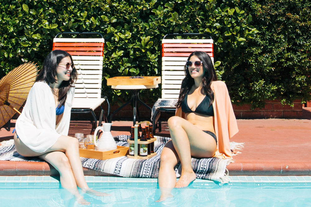 Poolside with our caddy and tray prototypes. Photo: PUNODOSTRES. Styling: J Fraiche