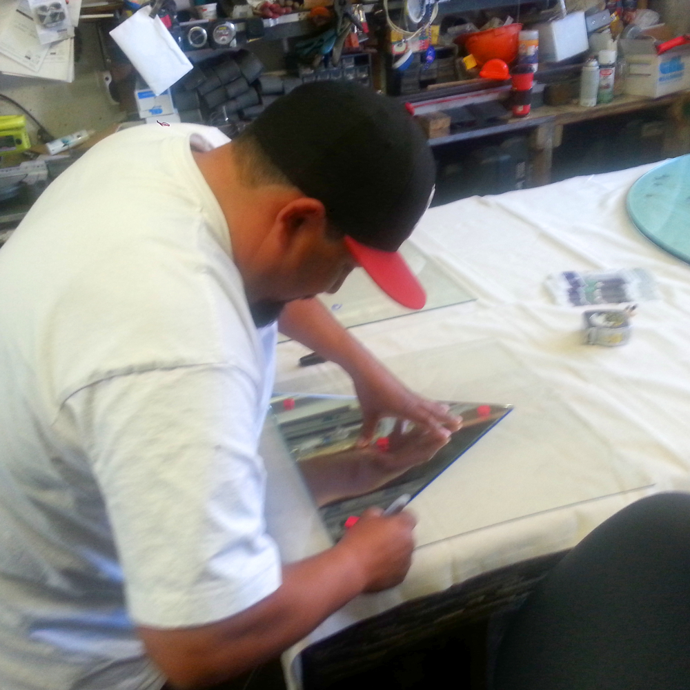 Luis cuts a new template for our next order