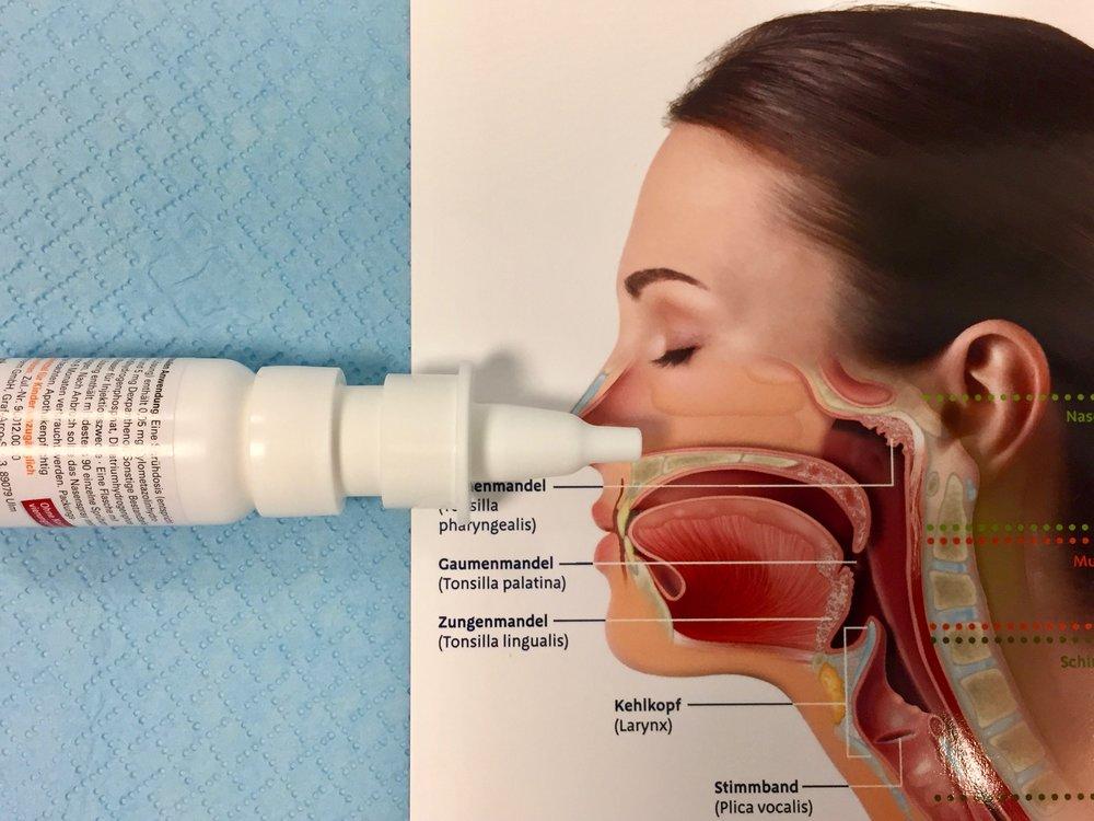 Richtige Haltung des Nasensprays
