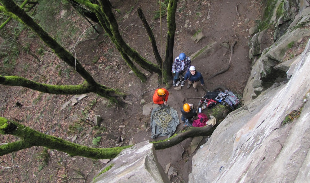 Mountaineering Club members prepare to ascend during their February 1st climbing trip.