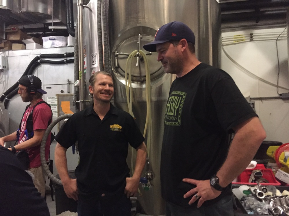 Jeff and Sierra Nevada brewer Isaiah Mangold chatting during the test brew for the Southwest Group's American Stout at Beachwood Long Beach - check out the sound guy in the background!