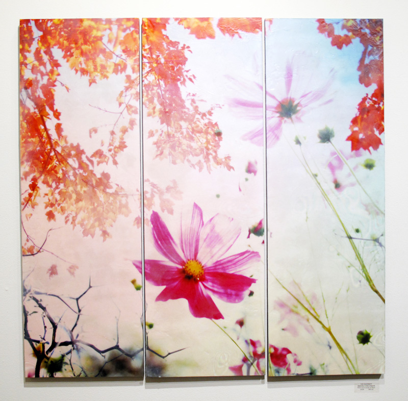 September in Eden, 2016, Photo and Encaustic on Wood Panel (triptych), 36 x 36""
