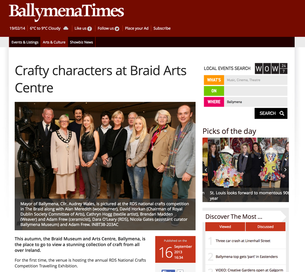Ballymena Times Crafty Characters at Braid Arts Centre