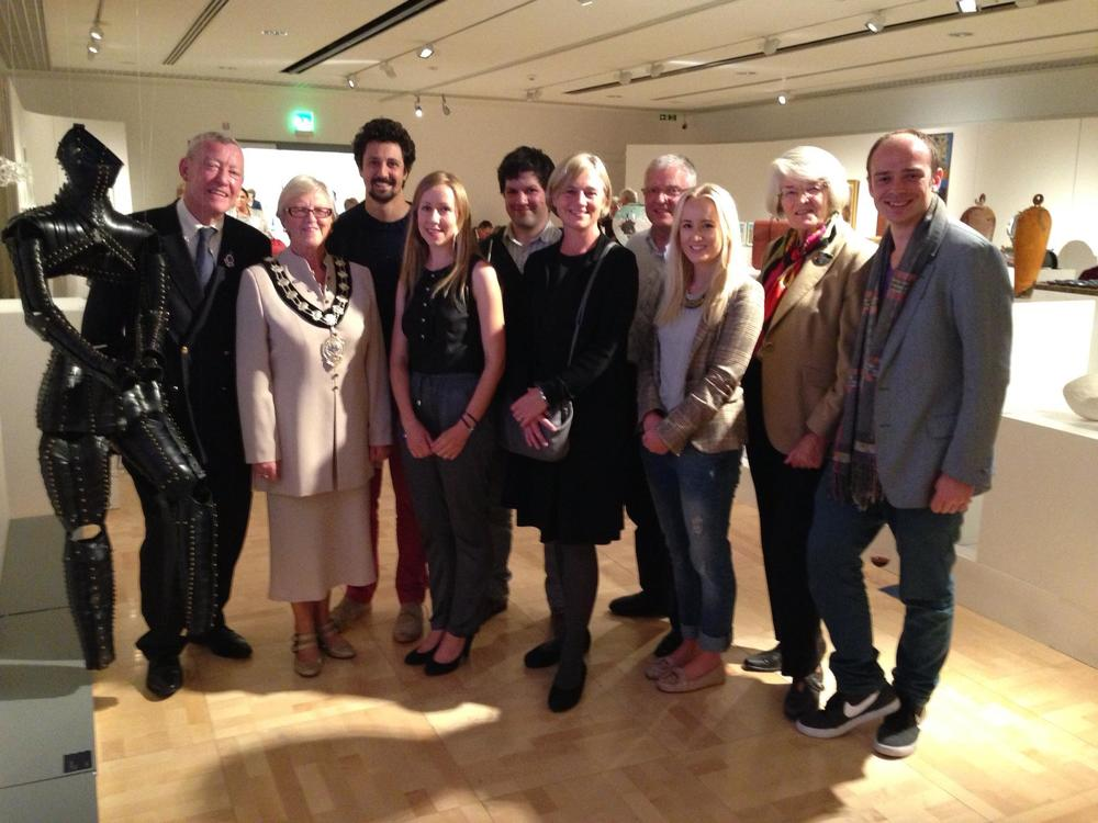 Brendan Joseph with Audrey Wells MBE, Mayor of Ballymena, Dara O'Leary, RDS Arts Administrator, & Members of RDS Arts Committee.