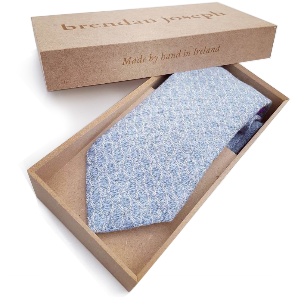 brendanjoseph-horizonless-blue-silk-and-linen-necktie-luxury-vip-corporate-gifts-wedding-ties-grooms-groomsmen-luxury-gift-packaging-laser-engraved-personalisation-dublin-ireland-handmade-in-ireland-irish-designer-artist-weaver-unique-to-dublin