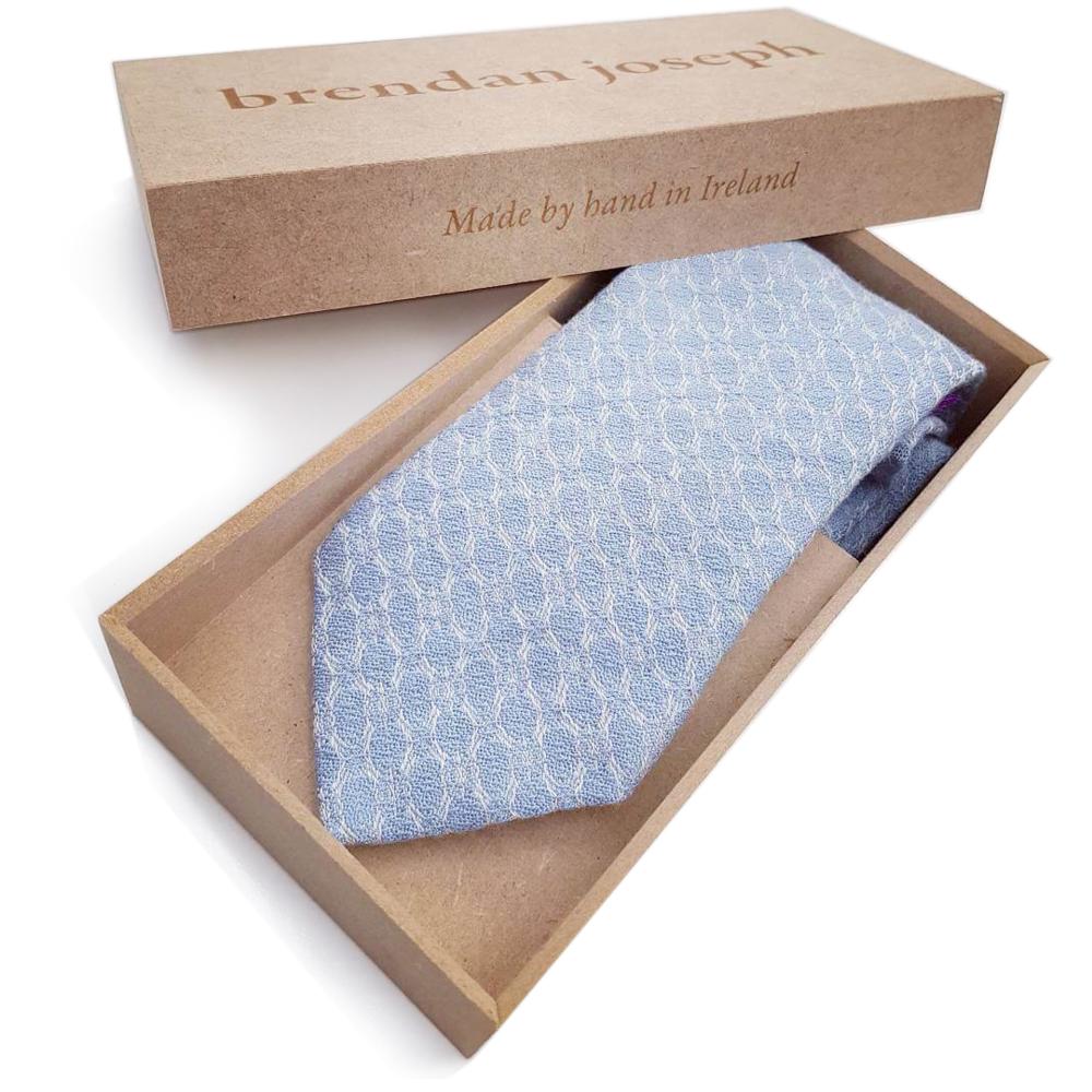 brendanjoseph-horizonless-blue-silk-and-linen-necktie-luxury-vip-corporate-gifts-wedding-ties-grooms-groomsmen-luxury-gift-packaging-laser-engraved-personalisation-dublin-ireland-handmade-in-ireland-irish-designer-artist-weaver-unique-to-dublin